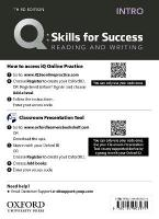 Q: Skills for Success: Intro Level: Reading and Writing Teacher's Access Card 3rd Revised edition