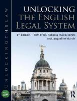 Unlocking the English Legal System 6th New edition