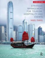 Strategic Management for Tourism, Hospitality and Events 2nd New edition