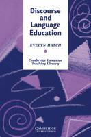 Cambridge Language Teaching Library, Discourse and Language Education