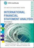 International Financial Statement Analysis Workbook 3rd Edition