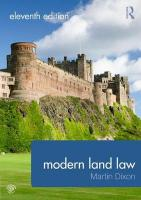 Modern Land Law 11th New edition