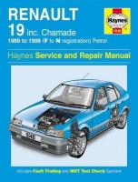 Renault 19 Petrol (89 - 96) F To N: 1989-1996 3rd Revised edition