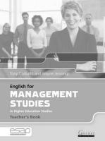 English for Management Studies Teacher's Book Teacher's edition, Teacher's Book