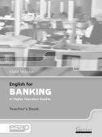 English for Banking in Higher Education Studies Teacher's Edition, Teacher's Book