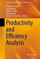 Productivity and Efficiency Analysis 2016 2016 ed.