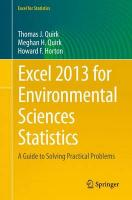Excel 2013 for Environmental Sciences Statistics: A Guide to Solving Practical Problems 2015 1st ed. 2015