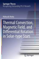 Thermal Convection, Magnetic Field, and Differential Rotation in Solar-type   Stars Softcover reprint of the original 1st ed. 2015